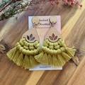 Maple kiwi macrame statement earrings