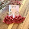 Wild rose bamboo macrame earrings