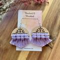 Bamboo lavender half-moon macrame earrings