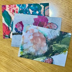 Bundle of 3 Botanical floral Art Greeting Cards
