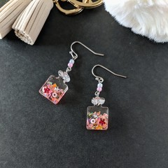 Perfume Bottle Drop Earrings (Pink) - Kawaii Resin