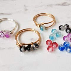 Minimalist Cracked glass bead wire wrapped ring , Red Aqua Blue Black Purple