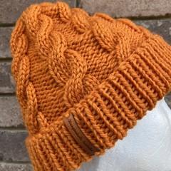 Handmade knitted orange cable beanie men's or ladies wool