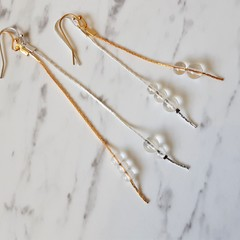 Dainty Minimal Clear glass bead chain dangling earrings , Clear Gold Silver