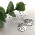 Small Sterling Silver TEARDROP EARRINGS. Upcycled from Vintage Silverware.