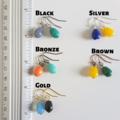 Simple Teardrop glass bead drop earrings , Orange Yellow Green Blue Black Gray