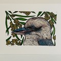 Blue-Winged Kookaburra Edition of 25- Linoprint and Watercolour