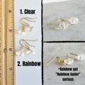 Minimalist Small crystal glass bead drop earrings , Clear Rainbow Gold Silver