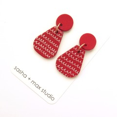 Scribble red and white vase statement drop earrings