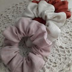 Linen/ cotton Scrunchies set