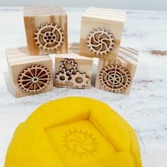 Wooden Dough Imprint Blocks - GEARS Set
