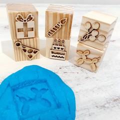 Wooden Dough Imprint Blocks - BIRTHDAY Set