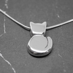 Kitty - Handmade Sterling Silver Pendant with Snake Chain