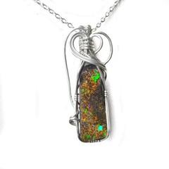 Rustic Boulder Opal pendant, Sterling silver