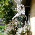 Opal Andamooka Matrix pendant Sterling silver, wire wrapped