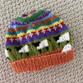 Orange sheep Beanie - to fit approx size 6-12 months -hand knitted