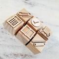 Wooden Dough Imprint Blocks - STATIONERY Set