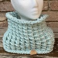 Knitted cowl mint snood ladies or men scarf