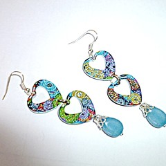 Enamel and Aquamarine heart earrings. FREE SHIPPING