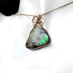 Large 16.85 ct Andamooka Opal 14k gold filled wire wrapped pendant