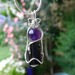 Raw Black Tourmaline Amethyst Sterling silver wire wrapped pendant