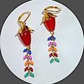 Topaz and enamel drop earrings. FREE SHIPPING
