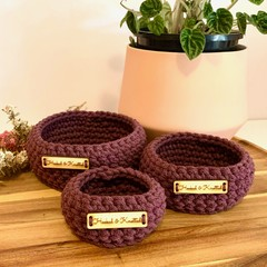 Set of 3 Blackberry crochet nesting baskets