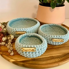 Set of 3 Misty Blue crochet nesting baskets