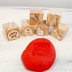 Wooden Dough Imprint Blocks - DOGS & CATS Set