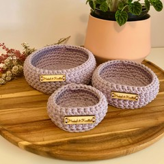 Set of 3 Lavender crochet nesting baskets