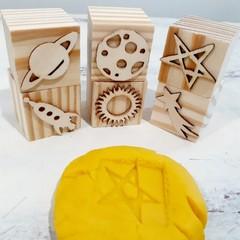 Wooden Dough Imprint Blocks - SPACE Set