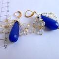 Sapphire teardrop and crystal chandelier earrings. FREE SHIPPING