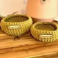 Set of 2 Kiwi crochet nesting baskets