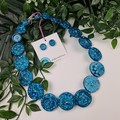 Teal Turquoise Sparkle Glitter  - Button Necklace - Button Earrings - Jewellery