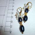 Black Tahitian rice pearls  and opal earrings. FREE SHIPPING