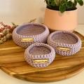 Set of 3 Lavender crochet nesting baskets