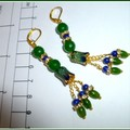 Sapphire, Emerald and enamel earrings. FREE SHIPPING