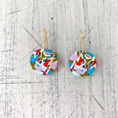 Polymer clay earrings, statement earrings in rainbow swirl