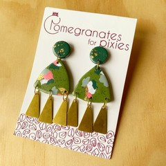 Nisa Statement Earrings with Brass Triangle Drops in Green Patchwork