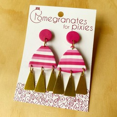 Nisa Statement Earrings with Brass Triangle Drops in Pink and White Stripe