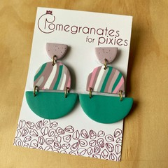 Leyla Statement Earrings in Green, Purple and Multicoloured Soft Lines