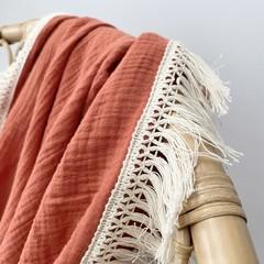 Rust muslin fringe wrap