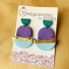 Leyla Statement Earrings in Teal, Purple and Blue with Gold Leaf Detail