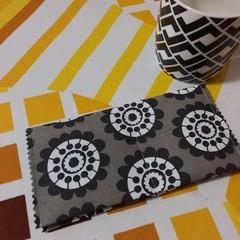 Handy Tea Bag Wallet- Grey/white/black modern print