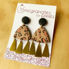 Nisa Statement Earrings with Brass Triangle Drops in Leopard Print