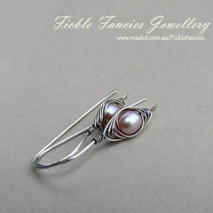 Silver Herringbone and Pink Pearl Earrings