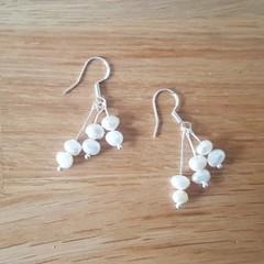 Delicate white freshwater pearl dangle 925 sterling silver hook earrings
