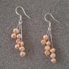 Delicate pink freshwater pearl dangle 925 sterling silver hook earrings