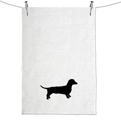 Dachshund Silhouette Hand Screen Printed Pure Linen Tea Towel Free Shipping Aust