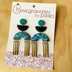 Sevda Statement Earrings with Brass Drops in Oceana  with Black Glitter